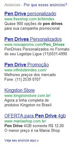 Tela dos anúncios pagos no Google
