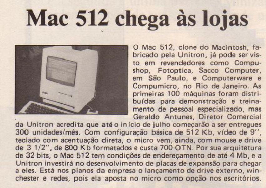 Matéria publicada na Revista MicroSistemas em 1987