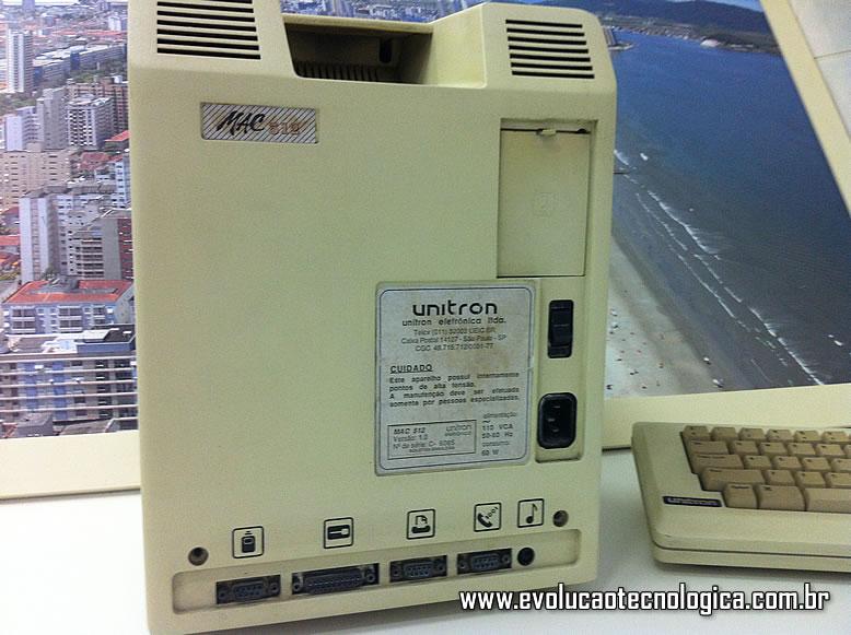 Unitron Mac 512 - visão traseira do micro