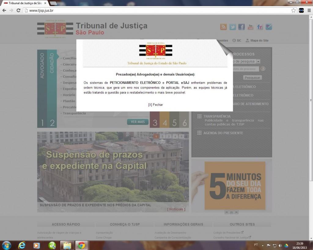 Problemas técnicos com o sistema de peticionamento eletrônico do TJ/SP