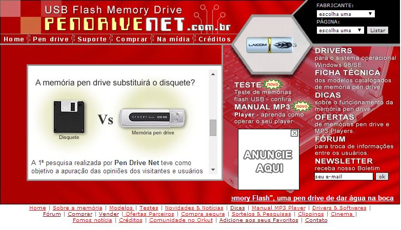 Tela do extinto website Pen Drive Net