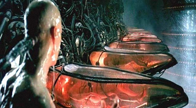 Neo, ao despertar, fica atônito ao contemplar os casulos com humanos que geram energia para as máquinas dotadas de inteligência artificial.