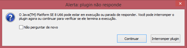 Travamento do plugin Java no Firefox