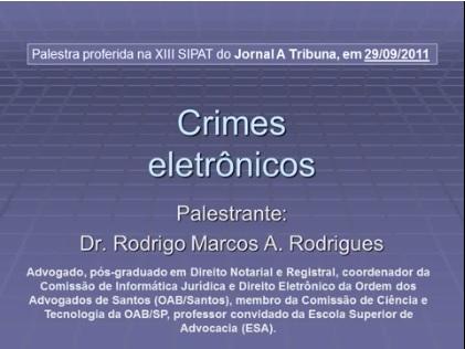 Tela do slide da palestra sobre crimes eletrônicos